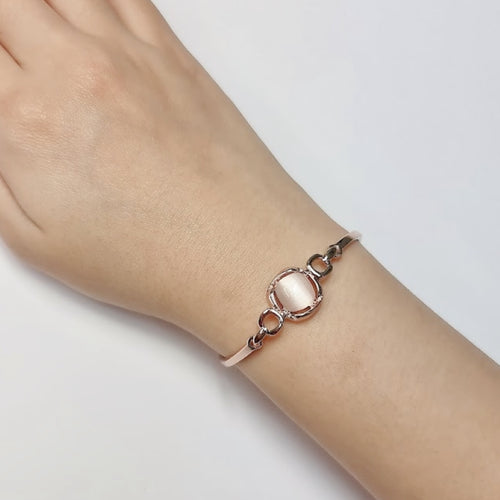 Square Simulated Moonstone Bangle