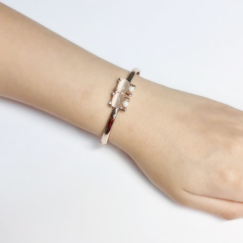 Cat Simulated Moonstone Bangle