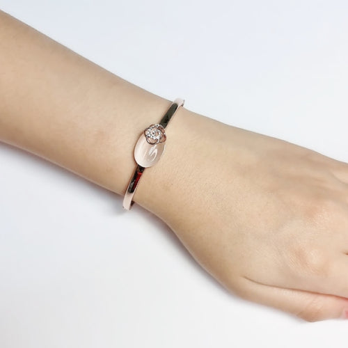 Oval Simulated Moonstone Bangle - CHOMEL