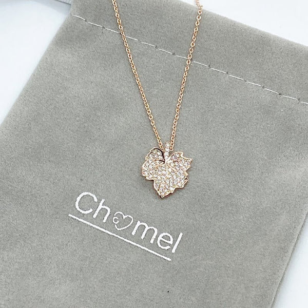 Maple Leaf Cubic Zirconia Necklace