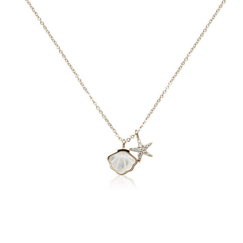 Shell Mother of Pearl Pendant Necklace