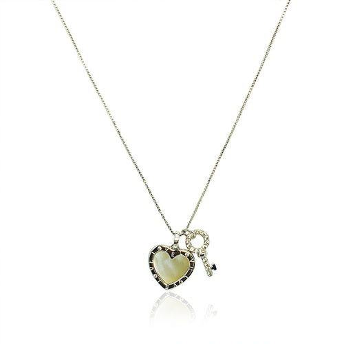 Mother of Pearl Heart & Key Pendant Necklace