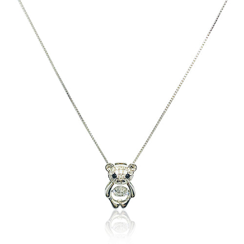 Teddy Bear Cubic Zirconia Pendant Necklace