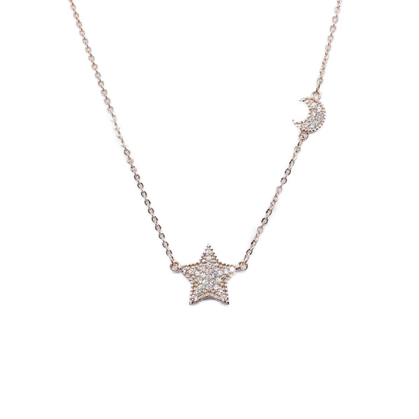 Star & Moon Cubic Zirconia Necklace - CHOMEL