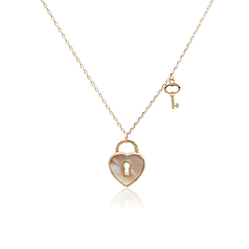 Lock & Key Mother of Pearl Necklace