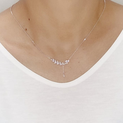 Cubic Zirconia Leaf Necklace