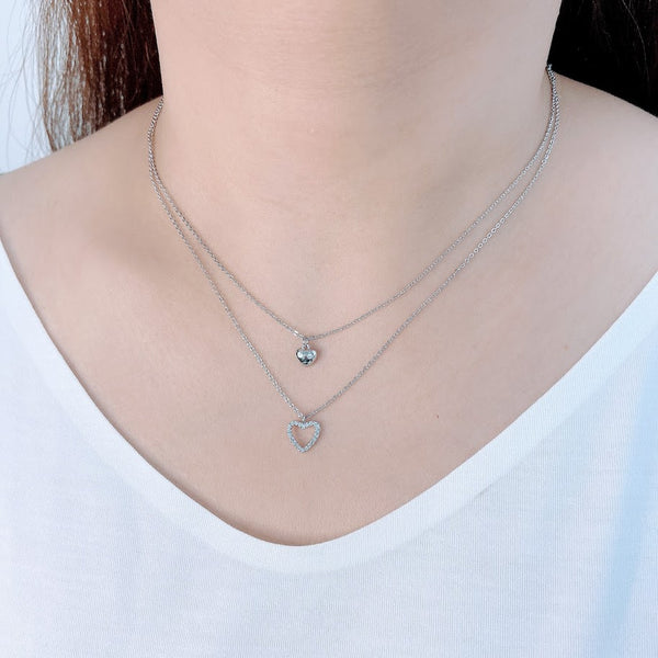 Heart Cubic Zirconia Necklace - CHOMEL