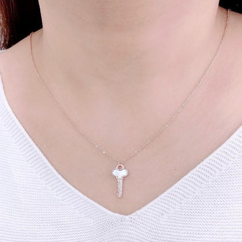 Mother of Pearl Key Pendant Necklace