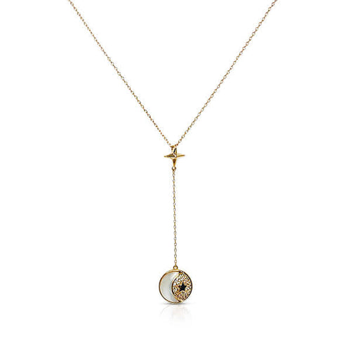 Mother of Pearl Round Pendant Necklace