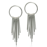 Rhodium-Plated Drop Earring