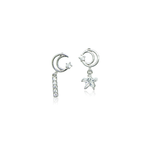 Moon & Star Cubic Zirconia Earrings - CHOMEL