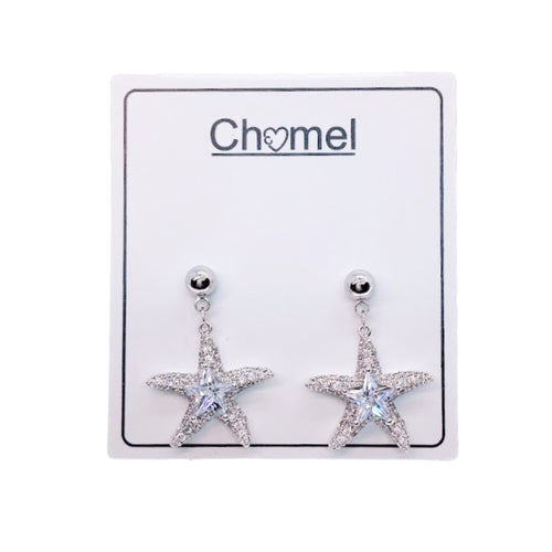 Cubic Zirconia Starfish Stud Drop Earrings