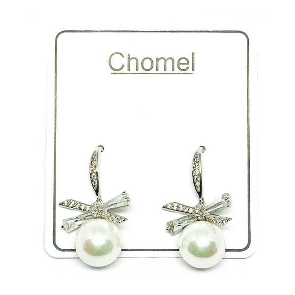 Simulated Pearl & Cubic Zirconia Earrings - CHOMEL