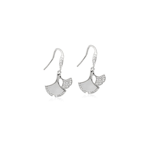 Mother of Pearl Ginko Leaf Earrings - CHOMEL