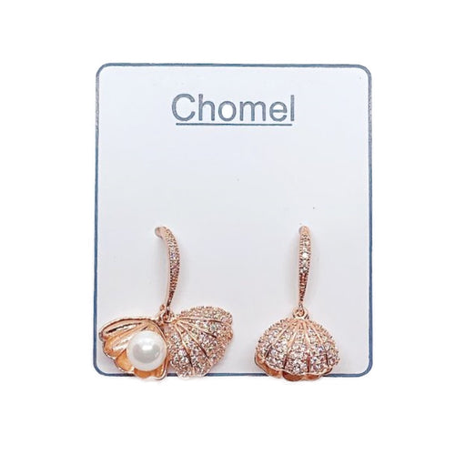 Shell Cubic Zirconia Earrings - CHOMEL