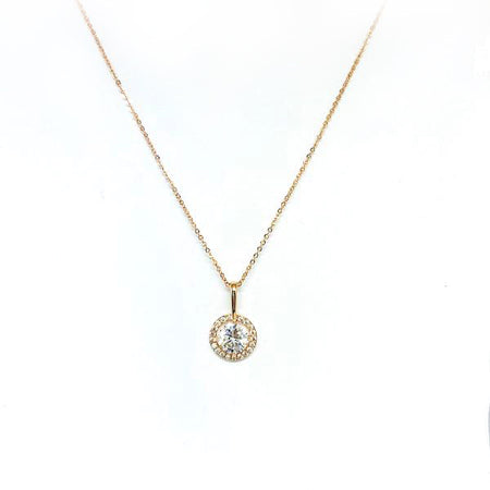 Cubic Zirconia Tunnel Pendant Necklace