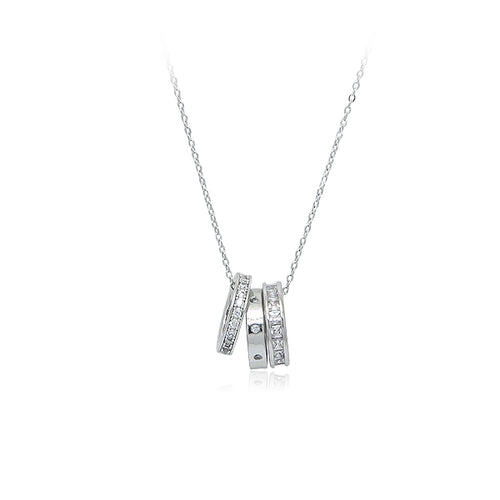 3 Ring Cubic Zirconia Necklace