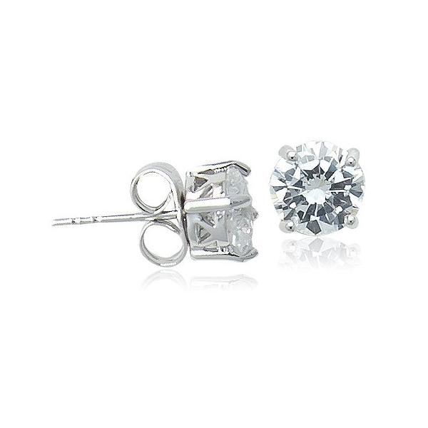 6mm Cubic Zirconia Solitaire Diamante Stud Earring - CHOMEL