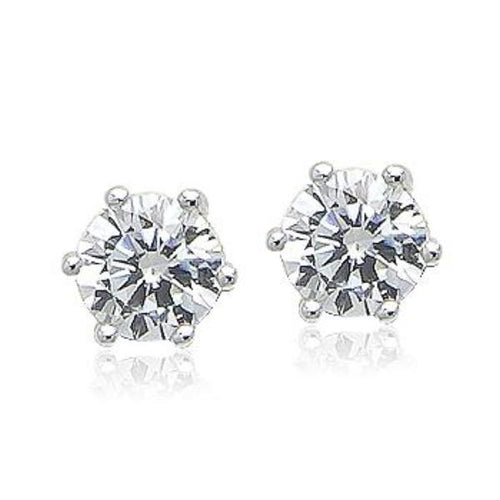 7mm Cubic Zirconia Diamante Stud Earring