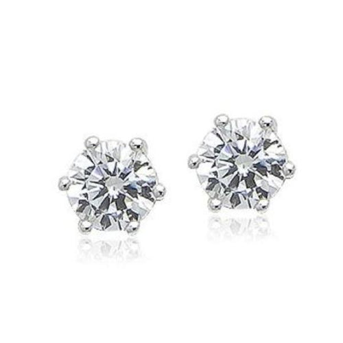 6mm Cubic Zirconia 925 Diamante Stud Earrings - CHOMEL
