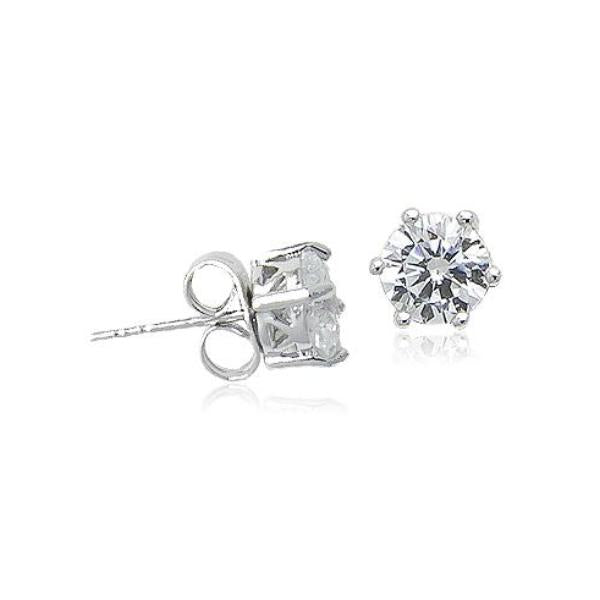 6mm Cubic Zirconia 925 Diamante Stud Earrings