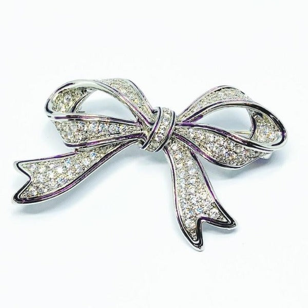 Cubic Zirconia Ribbon Brooch
