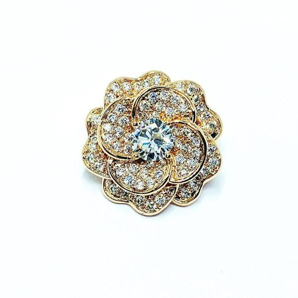Flower Cubic Zirconia  Brooch