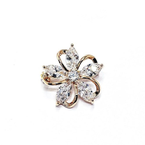 Cubic Zirconia Flower Brooch