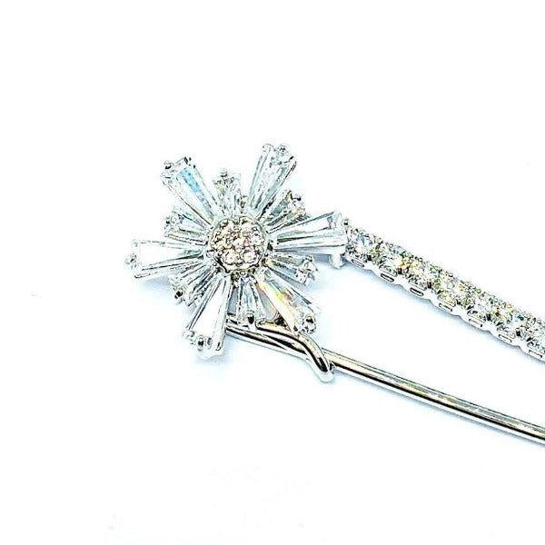 Cubic Zirconia Safety Pin Brooch