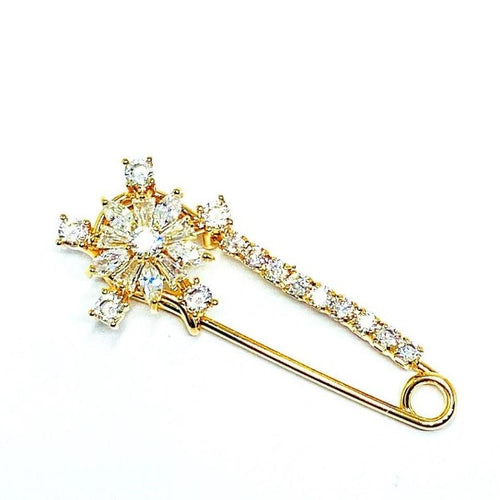 Cubic Zirconia Safety Pin Brooch - CHOMEL