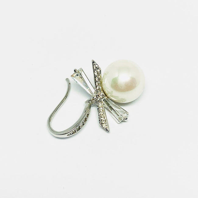Simulated Pearl & Cubic Zirconia Earrings