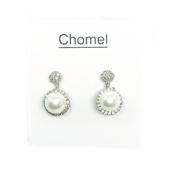 Simulated Pearl  & Cubic Zirconia Clip Earrings - CHOMEL