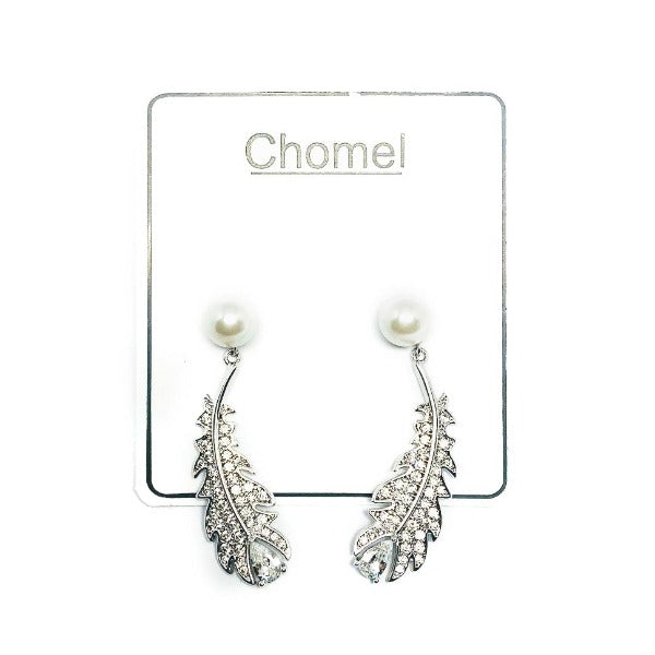 Leaf Simulated Pearl Earrings - CHOMEL