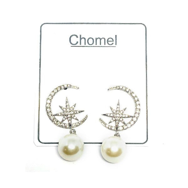 Moon & Star Pearl Earrings - CHOMEL