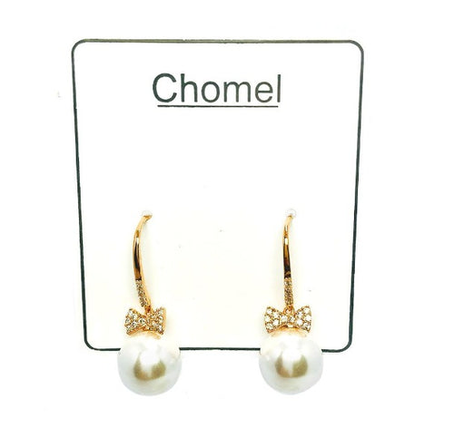 Ribbon Pearl Drop Earrings
