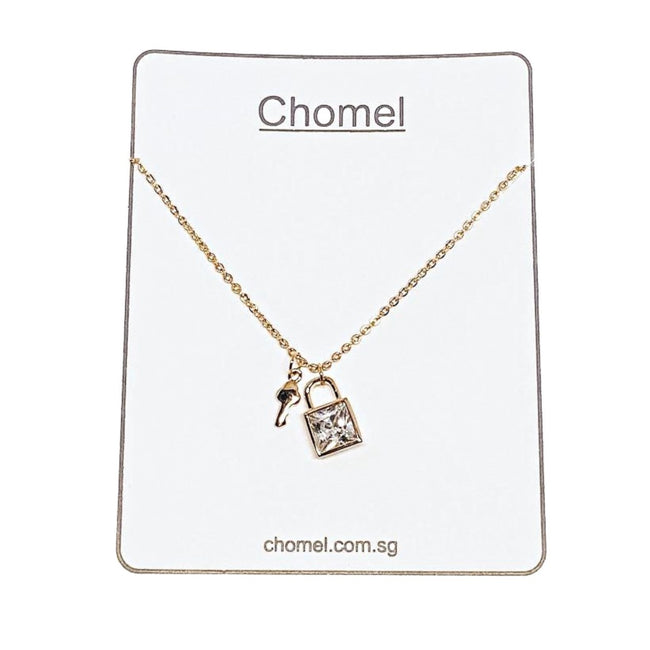 Lock and Key Cubic Zirconia Necklace - CHOMEL
