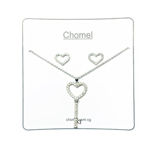 Heart Key Cubic Zirconia Set - CHOMEL