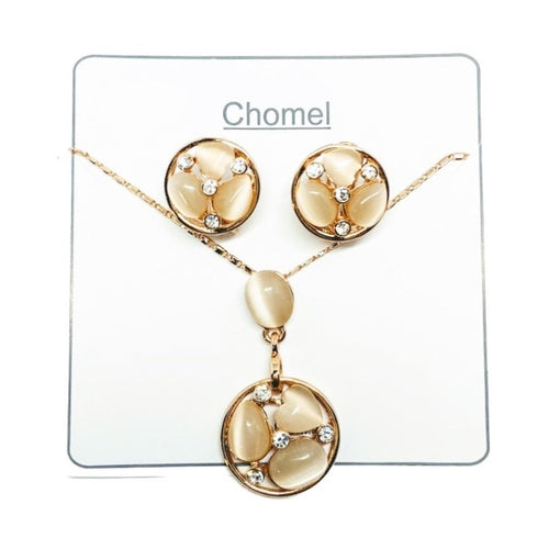 Round Simulated Moonstone Set - CHOMEL