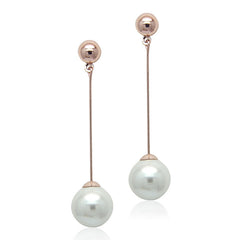 Faux Pearl Rose Gold Drop Earring