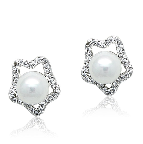 Simulated Pearl with Cubic Zirconia Stud Earring - CHOMEL