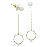 Simulated Pearl Gold Earrings - CHOMEL