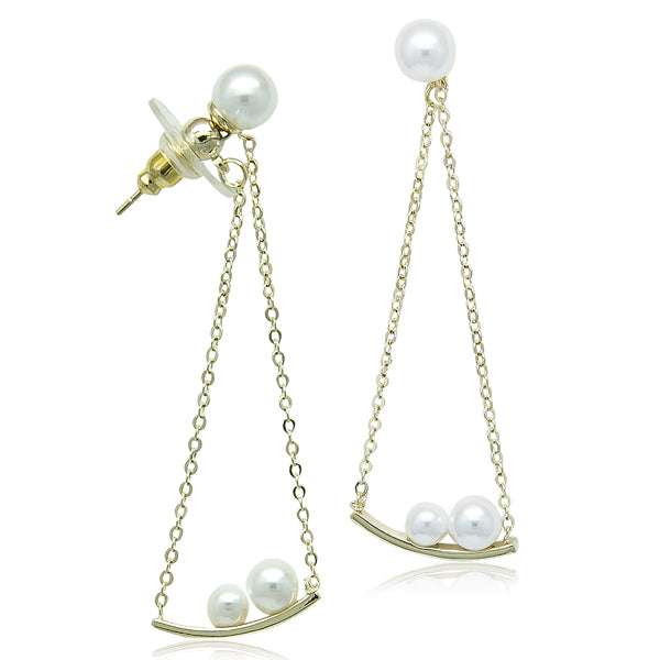 Simulated Pearl Gold  Earring