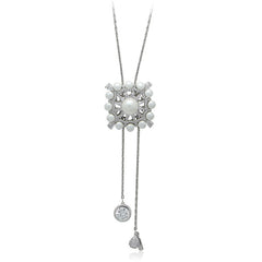 Faux Pearl Cubic Zirconia Y-Necklace