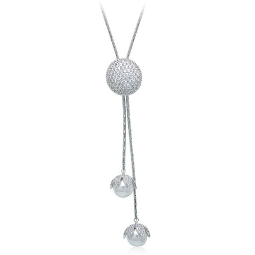 Simulated Pearl & CZ Long Necklace - CHOMEL