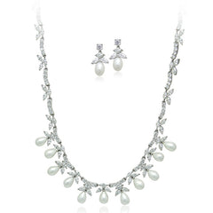 Faux Pearl Necklace & Earring Set