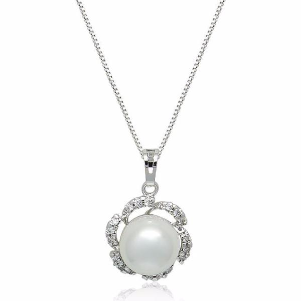 Simulated Pearl Pendant and Cubic Zirconia Earring Set