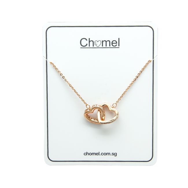 Heart Interlocking Cubic Zirconia Necklace - CHOMEL