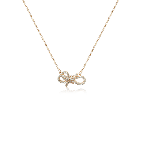 Ribbon Cubic Zirconia Necklace - CHOMEL