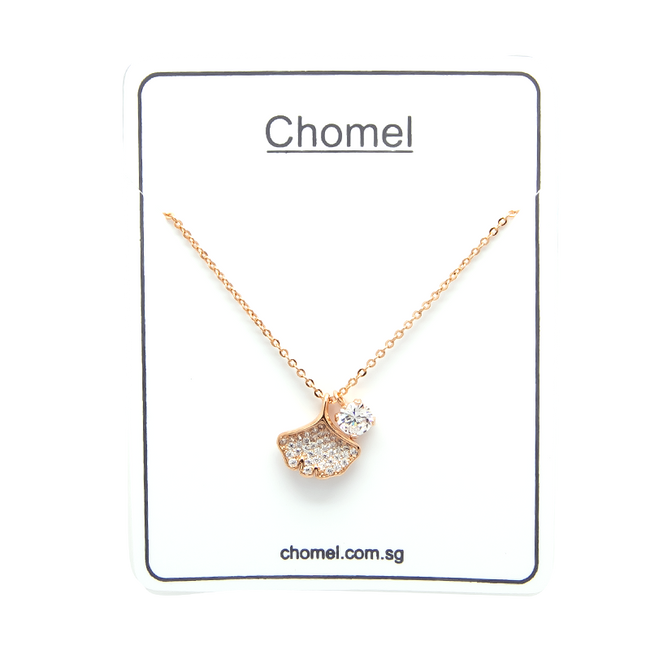 Gingko Leaf Cubic Zirconia Necklace - CHOMEL