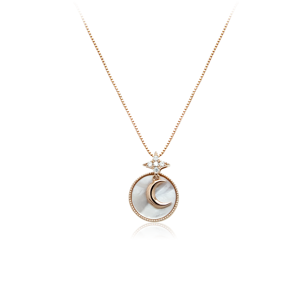 Moon & Star Mother of Pearl Necklace